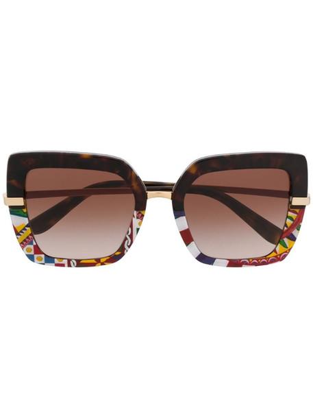 Dolce & Gabbana Eyewear half rim mosaic oversized sunglasses in black