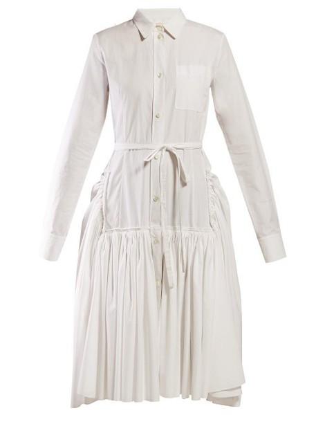Marni - Tie Waist Cotton Poplin Shirtdress - Womens - White