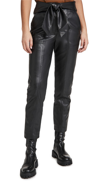 Jonathan Simkhai Tessa Vegan Leather Tie Waist Pants in black