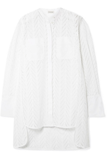 By Malene Birger - Moa Asymmetric Oversized Broderie Anglaise Cotton Tunic - White