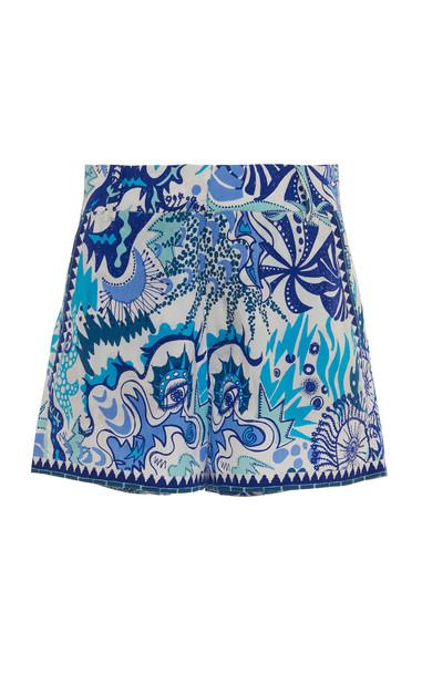 Le Sirenuse Positano Psycho Embroidered-Trim Printed Cotton Shorts Siz in blue