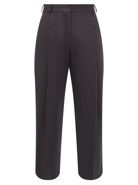 Margaret Howell - High Rise Wool Flannel Wide Leg Trousers - Womens - Navy