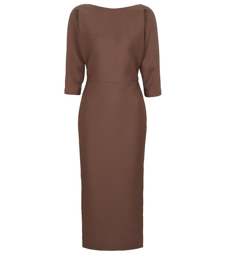 FENDI Piqué jersey midi dress in brown