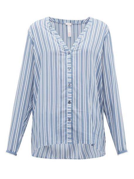Hanro - Striped Poplin Pyjama Top - Womens - Blue Stripe