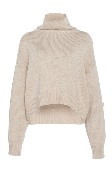 Loulou Studio Procida Wool-Blend Turtleneck Sweater Size: S in neutral
