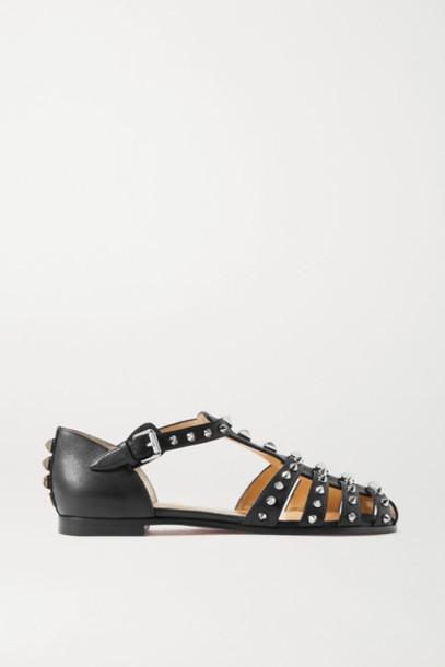 Christian Louboutin - Loubiclou Studded Leather Sandals - Black