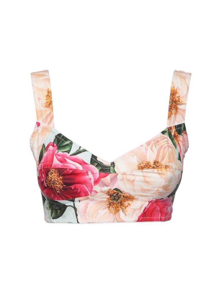 DOLCE & GABBANA Camelia Print Cotton Poplin Bra Top in pink / multi