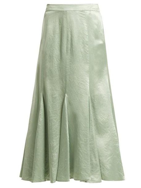 Sies Marjan - Holly Satin Midi Skirt - Womens - Green