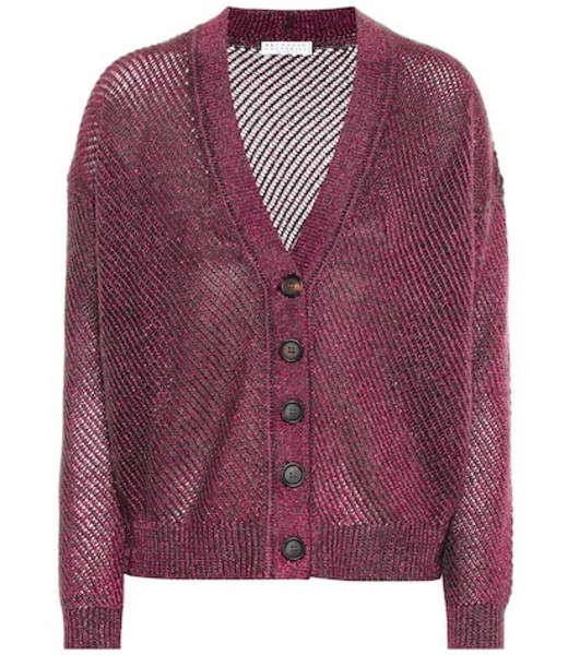 Brunello Cucinelli Mohair and wool-blend cardigan in purple