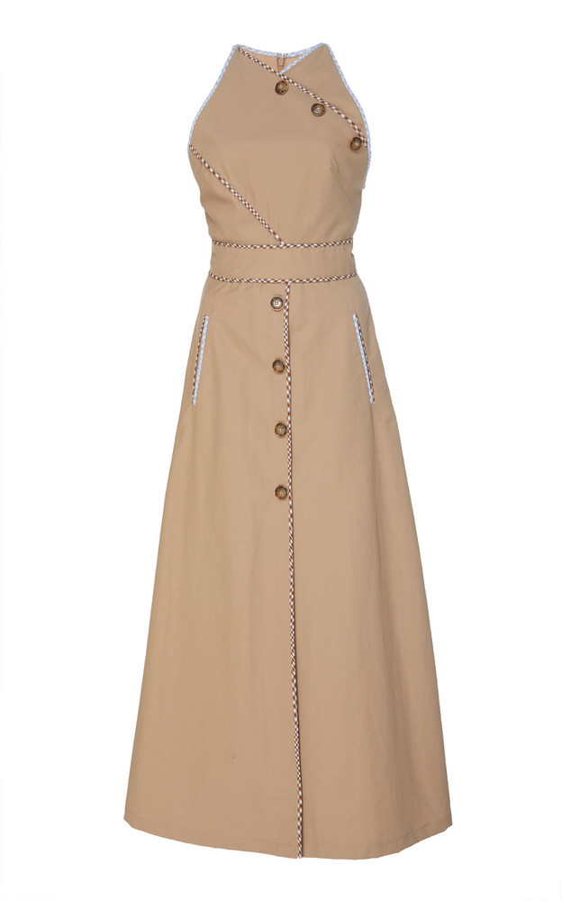 Lela Rose Button Cotton-Blend Dress in neutral