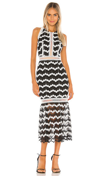 Bronx and Banco Emma Midi Dress in Black & White