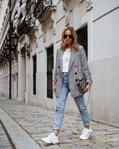jacket,plaid blazer,double breasted,white sneakers,mom jeans,high waisted jeans,dior bag,white t-shirt