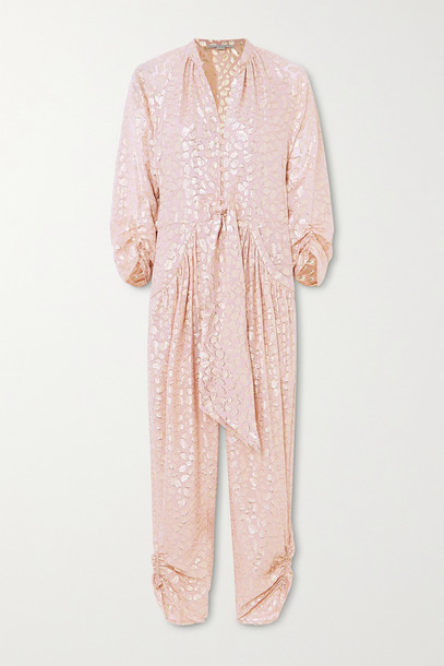 Stella McCartney - Tie-front Ruched Metallic Fil Coupé Silk-blend Jumpsuit - Pink