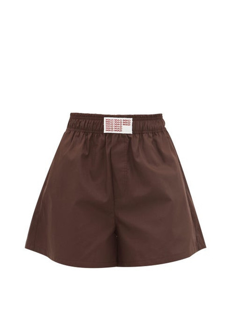 Matthew Adams Dolan - Embroidered-logo Cotton-poplin Shorts - Womens - Brown