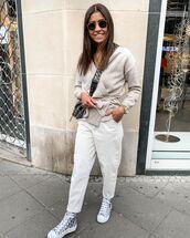 pants,white pants,high waisted pants,sneakers,cardigan,crossbody bag