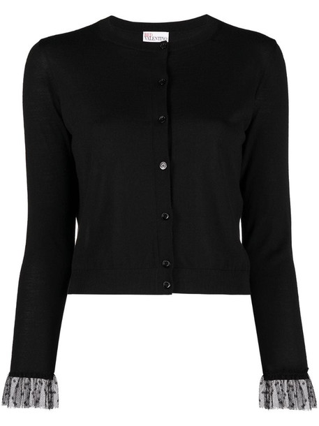 RED Valentino mesh polka dot cuff cardigan in black