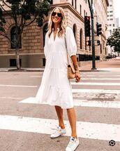 dress,white dress,midi dress,short sleeve dress,ruffle dress,white sneakers,bag
