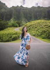 skirttherules,blogger,dress,bag,shoes,maxi dress,round bag,sandals
