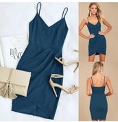 dress,bodycon dress,basic,wrap skirt,blue,black
