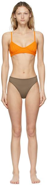 Nu Swim Orange & Brown Pluto and High-Cut Bikini in taupe