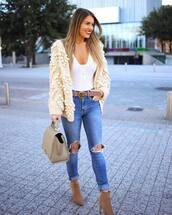 sweater,knitted cardigan,ankle boots,heel boots,skinny jeans,ripped jeans,gucci belt,white top