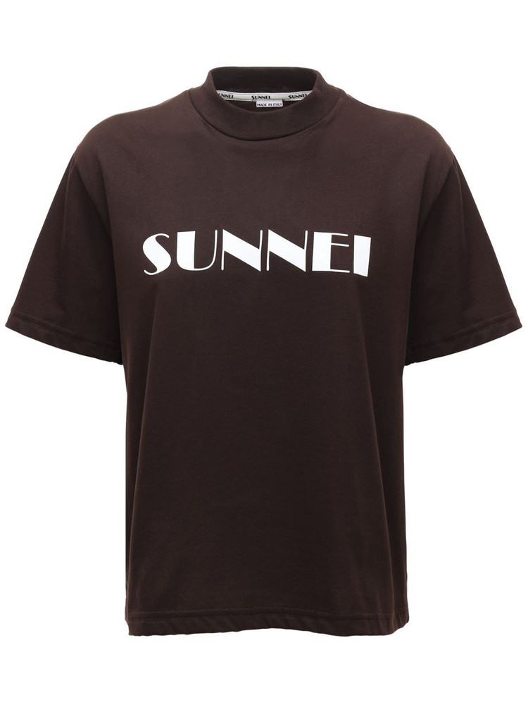 SUNNEI Classic Printed Logo Cotton T-shirt in brown