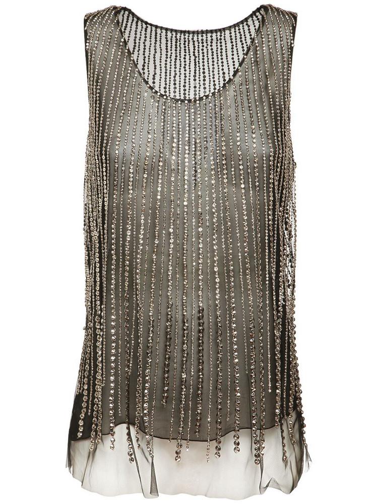 ALBERTA FERRETTI Crystal Embellished Tulle Top in black / silver