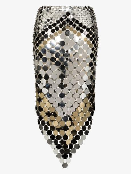 Paco Rabanne Metallic ring asymmetric midi skirt