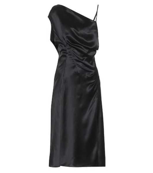 Versace Asymmetrical silk satin dress in black