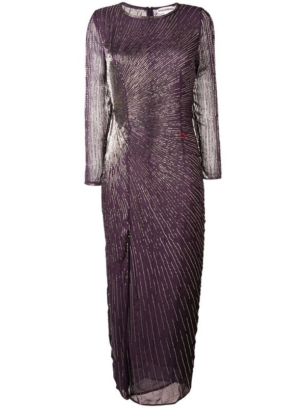 Giacobino bead embroidered slit front dress in purple