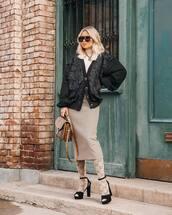 shoes,black sandals,midi skirt,tights,brown bag,black sweater,white turtleneck top