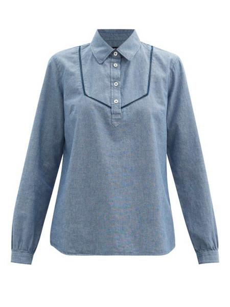 A.P.C. A.P.C. - Amanda Half-placket Denim-chambray Shirt - Womens - Blue