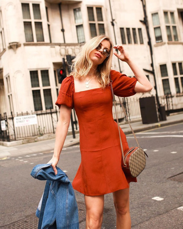 dress mini dress orange dress short sleeve dress denim jacket crossbody bag
