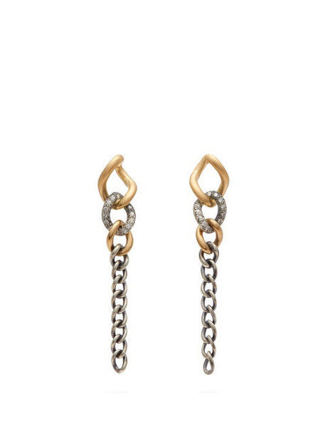 Hum - Diamond And 18kt Gold Chain Link Drop Earrings - Womens - Silver Gold