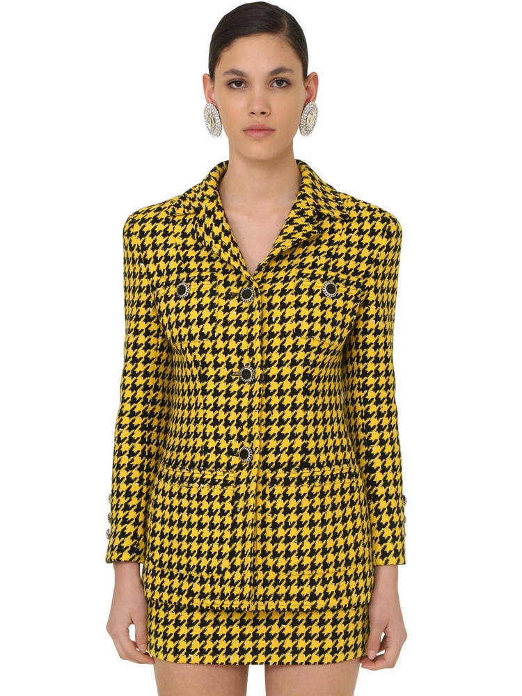 ALESSANDRA RICH Houndstooth Lacquered Button Jacket in black / yellow