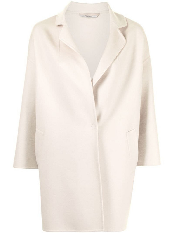 Colombo short cashmere coat in neutrals