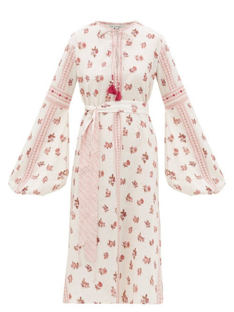 D'ascoli - Montauk Belted Floral-print Cotton Dress - Womens - Red Print