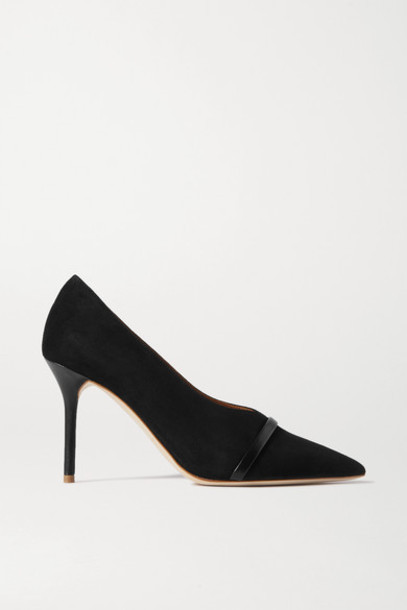 Malone Souliers - Constance 85 Leather-trimmed Suede Pumps - Black