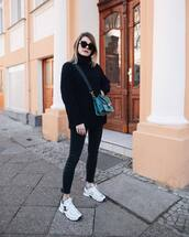 bag,crossbody bag,crocodile,white sneakers,chanel,cropped jeans,black skinny jeans,black sweater,turtleneck sweater
