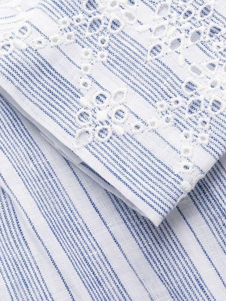 Ermanno Scervino stripe-print embroidered dress in blue
