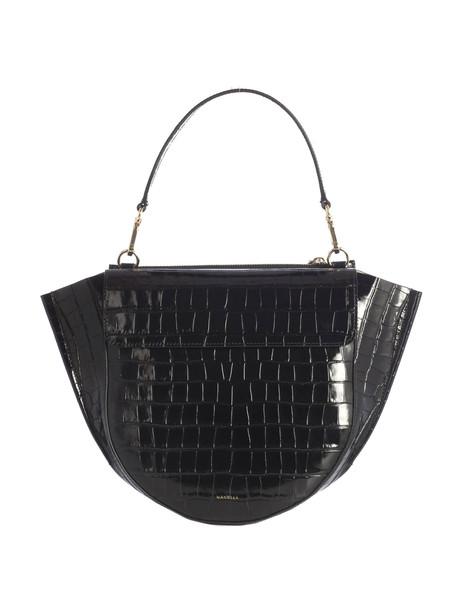 Wandler Croco Print Medium Shoulder Bag Big Shoulder With Gold Inserts, Pocket On The Back, Flap With Magnet Closure. Handle 16cm And Strap 52cm