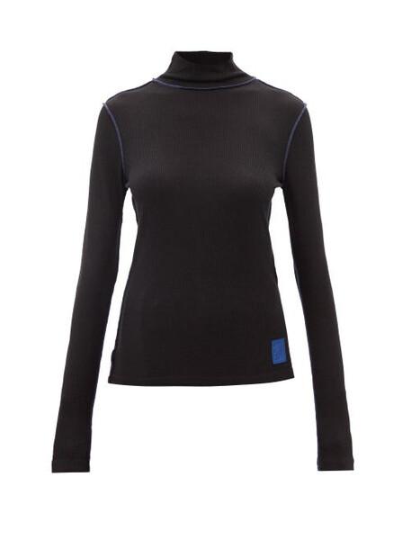 Loewe - Logo-patch Ribbed-jersey Top - Womens - Black