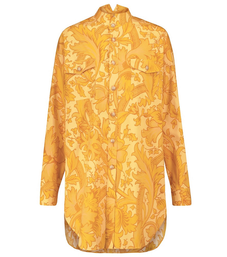 ETRO Printed stretch-cotton shirt in yellow