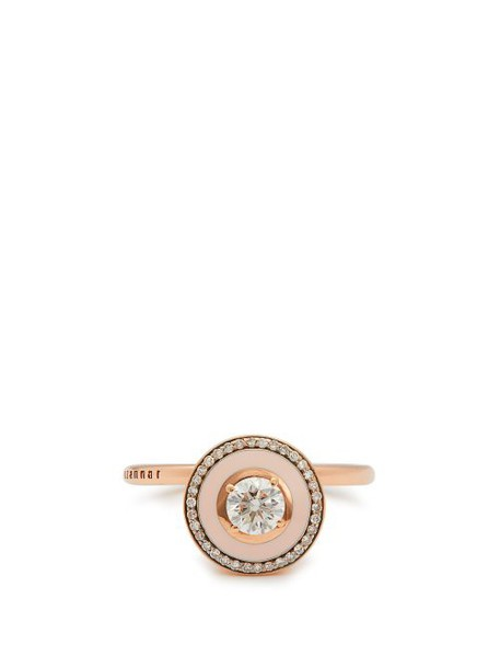 Selim Mouzannar - Mina 18kt Rose Gold, Diamond & Enamel Ring - Womens - Pink