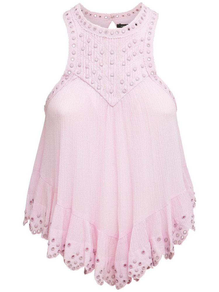 ISABEL MARANT Lanny Studded Cotton & Silk Top in pink