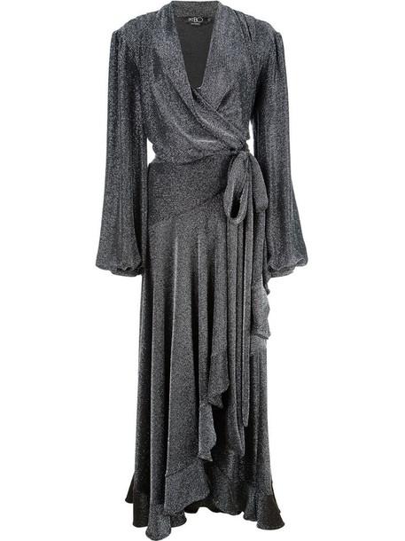 PatBO midi wrap dress in metallic