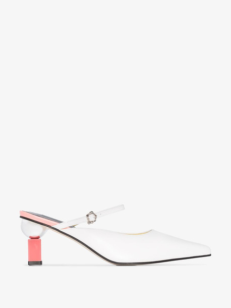 Yuul Yie White and pink Peyton 70 contrasting heel mules