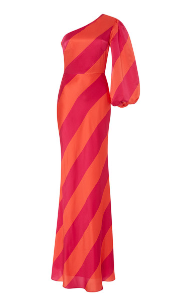 Saloni Lily Silk One Shoulder Gown Size: 10