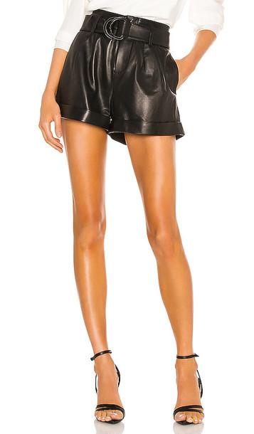 FRAME Paperbag Leather Short in Black