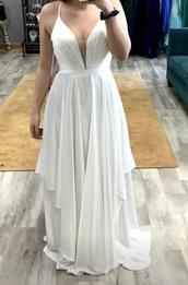 dress,ashley lauren,white formal,prom,v neck,white dress,white,long dress,white long dress